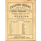 Clapton Orient V Reading 1938 Programme