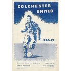 Colchester United FC V Walsall FC Football Progamme 19/0/1957