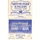 Queen's Park Rangers v Walsall Football Programme from the match played on the 12th September 1953.