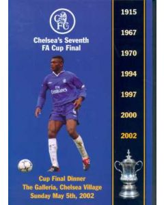 2002 FA Cup Final Players Dinner Menu 05/05/2002