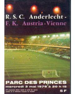 1978 Cup Winners Cup Final Official Programme Anderlecht v Austria Vienna Very Rare!