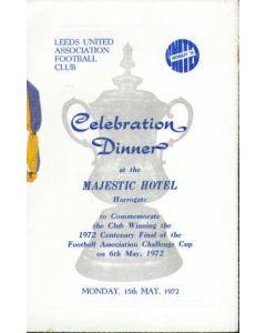1972 Leeds United FA Cup Winners Celebration Menu