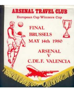 1980 CWC Final Pennant Arsenal V Valencia