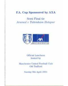 2001 FA Cup Semi Final Menu Arsenal V Tottenham