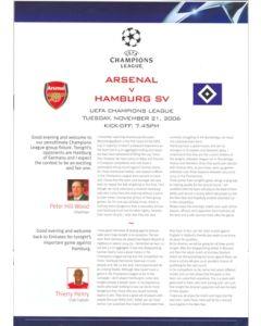 Arsenal v Hamburg SV press pack 21/11/2006