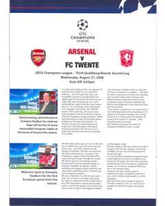 Arsenal v FC Twente press pack 27/08/2008