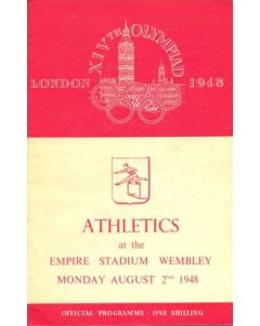 1948 XIVth Olympiad London Empire Stadium Wembley official programme 02/08/1948
