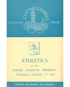 1948 XIVth Olympiad London Empire Stadium Wembley official programme 03/08/1948