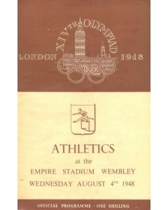 1948 XIVth Olympiad London Empire Stadium Wembley official programme 04/08/1948