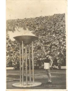 1952 15th Olympic Games in Helsinki, Finland postcard, featuring the Opening Ceremony