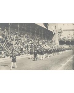 1912 Olympic Games in Stokholm postcard, featuring the USA at the opening ceremony