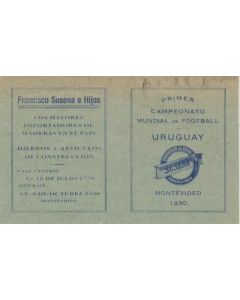 1930 World Cup in Montevideo Uruguay schedule of the games card