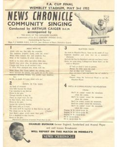1952 FA Cup Final News Chronicle Song Sheet