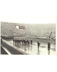 1952 XVth Olympiad Helsinki, Finland official postcard featuring the group of the USA at the Opening Ceremony