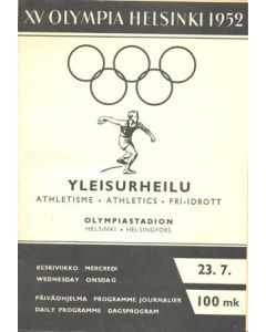 1952 XVth Olympiad Helsinki, Finland 1952 official programme 23/07/1952
