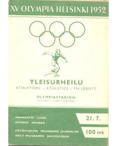 1952 XVth Olympiad Helsinki, Finland official programme 21/07/1952
