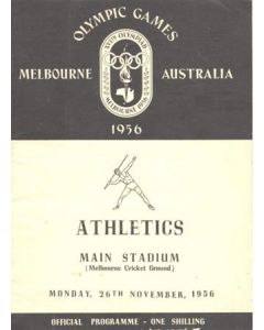 1956 XVIth Olympic Games 1956 in Melbourne programme 26/11/1956
