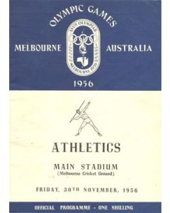 1956 XVIth Olympic Games 1956 in Melbourne programme 30/11/1956