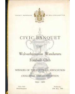 1960 Wolverhampton Wanderers v Blackburn Rovers menu with Seating Arrangements 07/05/1960