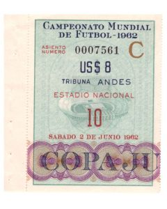 1962 Football World Cup Ticket Chile v Italy