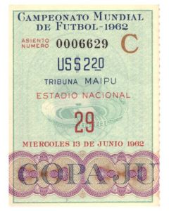 1962 football world cup ticket Chile v Brazil
