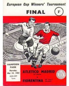 1962 Cup Winners Cup Final Official Programme Atletico Madrid v Fiorentina