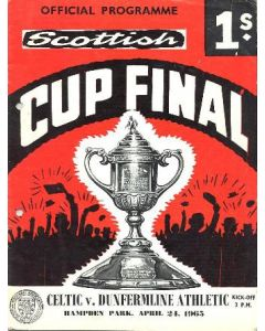 1965 Scottish Cup Final Celtic v Dunfermline Athletic official programme 24/04/1965 hole-punched