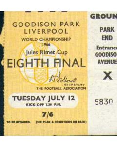 1966 World Cup Ticket 12/07/1966