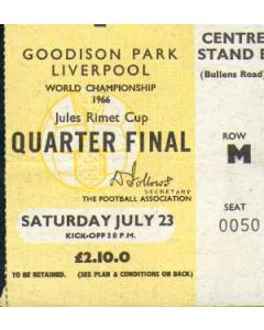 1966 World Cup Ticket 23/07/1966