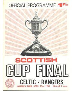 1966 Scottish Cup Final Celtic v Glasgow Rangers official programme 23/04/1966 pink version