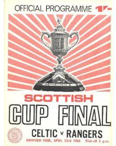 1966 Scottish Cup Final Celtic v Glasgow Rangers official programme 23/04/1966 red version