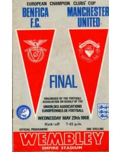 1968 European Cup Final Benfica v Manchester United Official Programme