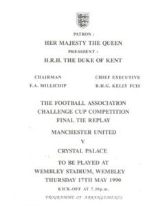 1990 League Cup Final Replay Royal Box Programme of Arrangements Manchester United v Crystal Palace 17/05/1990 at Wembley, Very Rare!