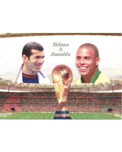 1998 World Cup in France Zidane & Ronaldo postcard