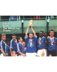 1998 World Cup in France Zidane Holds The World Cup Trophy postcard