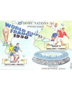 1998 World Cup in France - Group A - Scotland v Brazil & Group G - England v Tunisia postcard