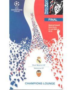 2000 Champions League Final Menu Champions Lounge 24/05/2000