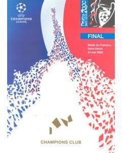 2000 Champions League 2000 Final Champions Club Menu as dated above, Paris, Saint-Denis, mint
