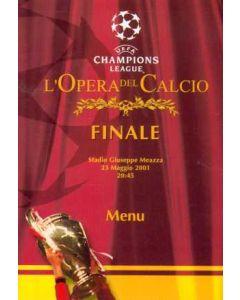 2001 Champions League Final Menu 23/05/2001
