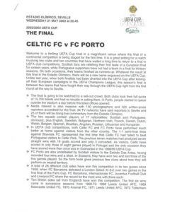 2003 UEFA Cup Final Celtic v Porto press pack 21/05/2003, without folder