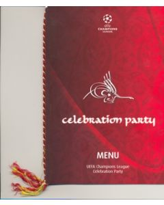 2005 Champions League Final Celebration Menu for Directors of Liverpool and AC Milan