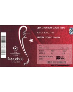 2005 Champions League Final Milan v Liverpool unused ticket 25/05/2005 in Istanbul