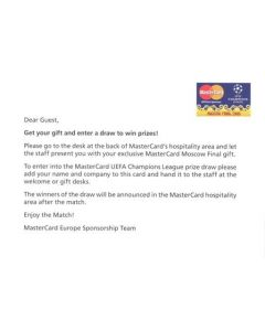 2008 Champions League Final in Moscow Mastercard card for a gift and draw to win prizes