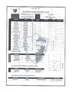 2010 World Cup official teamsheet Platinum Stars F.C. v England 07/06/2010 World Cup 2010 Warm-Up Friendly Match