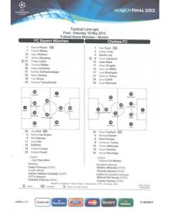 2012 Champions League Final Chelsea v Bayern Munich official colour teamsheet 19/05/2012