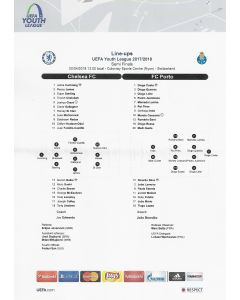2018 UEFA Youth League Semi Final Teamsheet Chelsea v Porto
