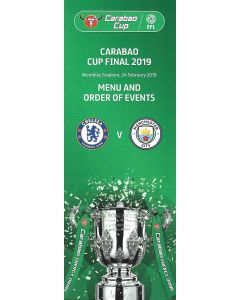 2019 Carabao Cup Final Rare Menu and Order of Events