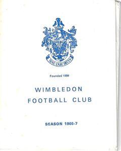 Wimbledon v Corby Town 17/12/1966 Programme