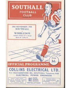 Southall v Wimbledon LSC 29/11/1958 Official Programme