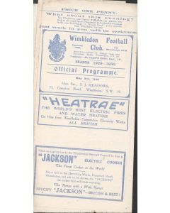Wimbledon v The Casuals 3/05/1930 Official Programme